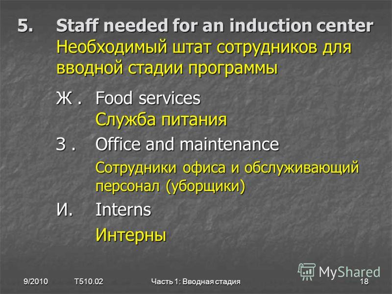 5.Staff needed for an induction center Необходимый штат сотрудников для вводной стадии программы Ж.Food services Служба питания З.Office and maintenance Сотрудники офиса и обслуживающий персонал (уборщики) Сотрудники офиса и обслуживающий персонал (у