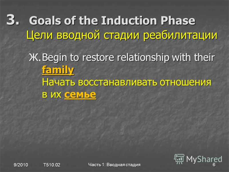 3. Goals of the Induction Phase Цели вводной стадии реабилитации 9/2010 T510.02 Часть 1: Вводная стадия6 ЖBegin to restore relationship with their family Начать восстанавливать отношения в их семье Ж.Begin to restore relationship with their family На