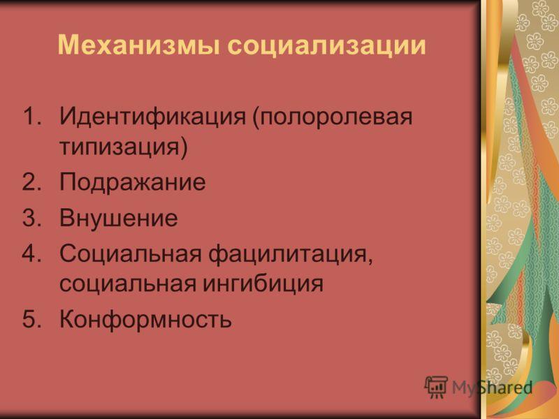 Механизмы социализации 1.Идентификация (полоролевая типизация) 2.Подражание 3.Внушение 4.Социальная фацилитация, социальная ингибиция 5.Конформность
