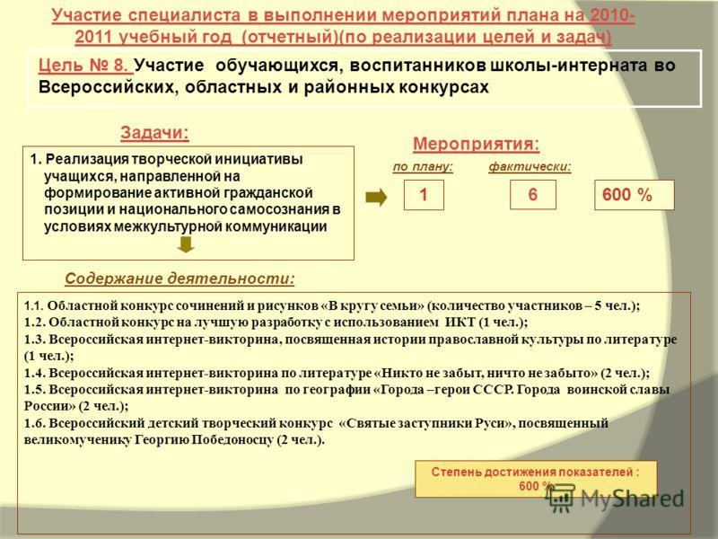 Задачи: Мероприятия: Участие специалиста в выполнении мероприятий плана на 2010- 2011 учебный год (отчетный)(по реализации целей и задач) Цель 8. Участие обучающихся, воспитанников школы-интерната во Всероссийских, областных и районных конкурсах 600