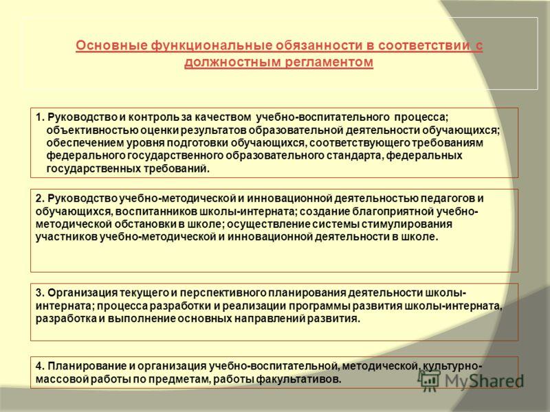 1. Руководство и контроль за качеством учебно-воспитательного процесса; объективностью оценки результатов образовательной деятельности обучающихся; обеспечением уровня подготовки обучающихся, соответствующего требованиям федерального государственного