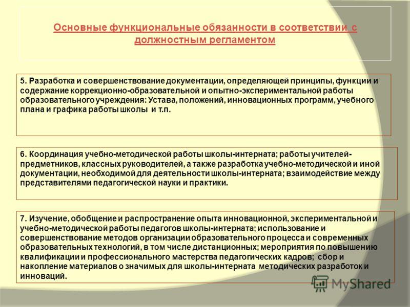 Основные функциональные обязанности в соответствии с должностным регламентом 5. Разработка и совершенствование документации, определяющей принципы, функции и содержание коррекционно-образовательной и опытно-экспериментальной работы образовательного у