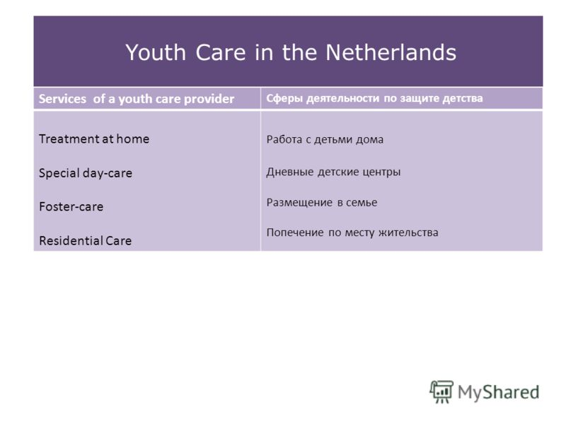 Youth Care in the Netherlands Services of a youth care provider Сферы деятельности по защите детства Treatment at home Special day-care Foster-care Residential Care Работа с детьми дома Дневные детские центры Размещение в семье Попечение по месту жит