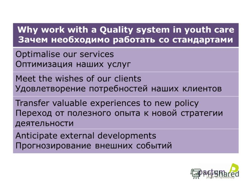 Why work with a Quality system in youth care Зачем необходимо работать со стандартами Optimalise our services Оптимизация наших услуг Meet the wishes of our clients Удовлетворение потребностей наших клиентов Transfer valuable experiences to new polic
