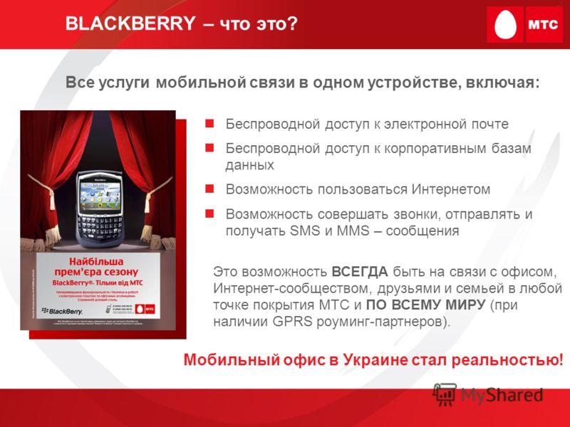 BLACKBERRY – что это? Беспроводной доступ к электронной почте Беспроводной доступ к корпоративным базам данных Возможность пользоваться Интернетом Возможность совершать звонки, отправлять и получать SMS и MMS – сообщения Все услуги мобильной связи в