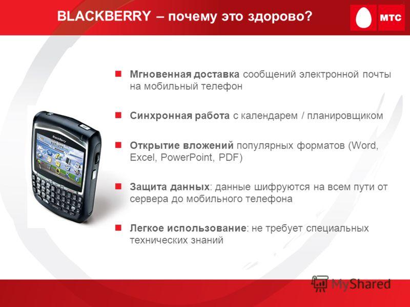 BLACKBERRY – почему это здорово? Мгновенная доставка сообщений электронной почты на мобильный телефон Синхронная работа с календарем / планировщиком Открытие вложений популярных форматов (Word, Excel, PowerPoint, PDF) Защита данных: данные шифруются