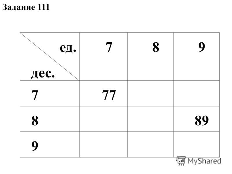 Задание 111 ед. дес. 789 777 889 9