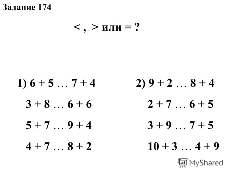 Задание 174 или = ? 1) 6 + 5 … 7 + 4 3 + 8 … 6 + 6 5 + 7 … 9 + 4 4 + 7 … 8 + 2 2) 9 + 2 … 8 + 4 2 + 7 … 6 + 5 3 + 9 … 7 + 5 10 + 3 … 4 + 9