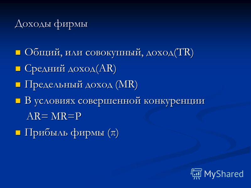 Доходы фирмы Общий, или совокупный, доход(TR) Общий, или совокупный, доход(TR) Средний доход(AR) Средний доход(AR) Предельный доход (MR) Предельный доход (MR) В условиях совершенной конкуренции В условиях совершенной конкуренции AR= MR=P AR= MR=P При
