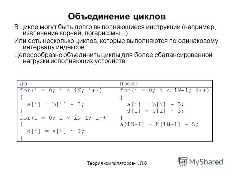 Теория компиляторов-1. Л.614 Объединение циклов В цикле могут быть долго выполняющиеся инструкции (например, извлечение корней, логарифмы...). Или есть несколько циклов, которые выполняются по одинаковому интервалу индексов. Целесообразно объединить