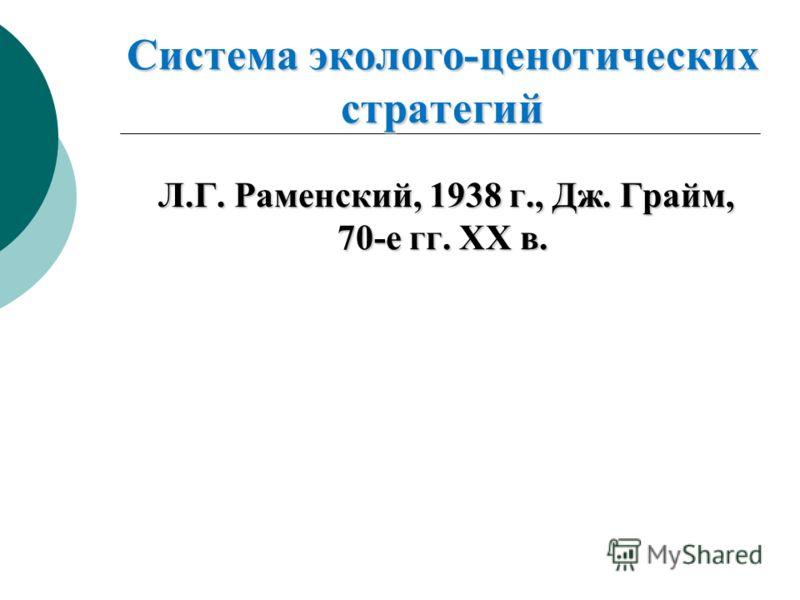 Система эколого-ценотических стратегий Л.Г. Раменский, 1938 г., Дж. Грайм, 70-е гг. XX в.