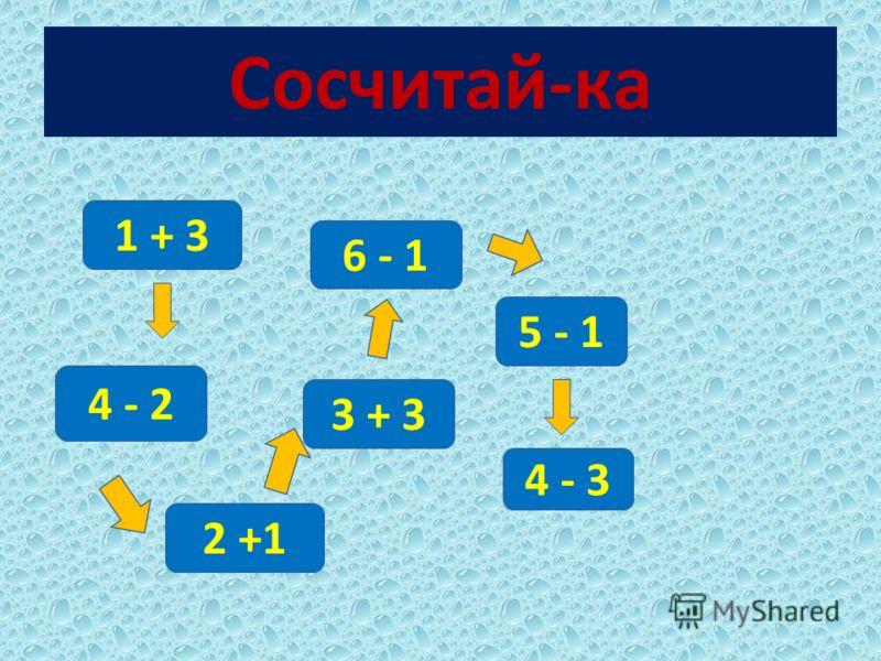 Сосчитай-ка 1 + 3 4 - 2 2 +1 3 + 3 6 - 1 5 - 1 4 - 3