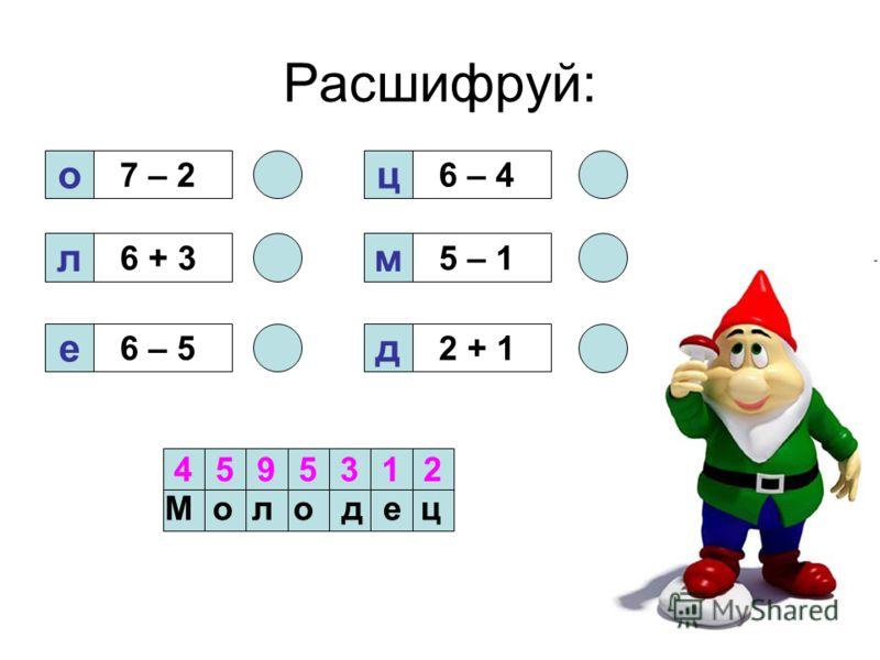 Расшифруй: о 7 – 2 л ед м ц 6 + 3 6 – 52 + 1 5 – 1 6 – 4 4595312 М о л о д е ц