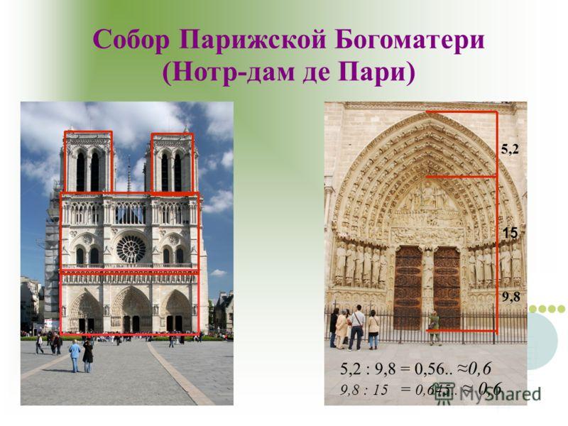 Собор Парижской Богоматери (Нотр-дам де Пари) 5,2 : 9,8 = 0,56.. 0,6 9,8 : 15 = 0,645.. 0,6 15 5,2 9,8
