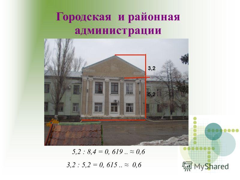 5,2 : 8,4 = 0, 619.. 0,6 3,2 : 5,2 = 0, 615.. 0,6 Городская и районная администрации 5,2 3,2