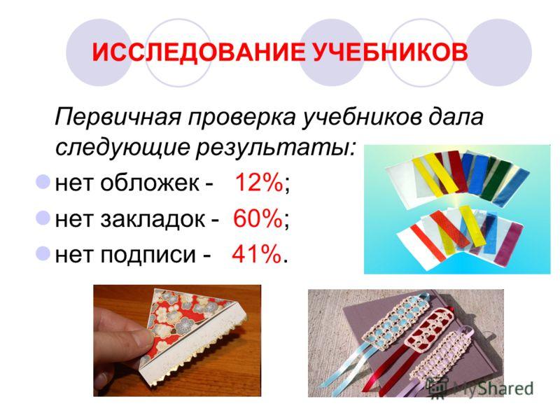 ИССЛЕДОВАНИЕ УЧЕБНИКОВ Первичная проверка учебников дала следующие результаты: нет обложек - 12%; нет закладок - 60%; нет подписи - 41%.