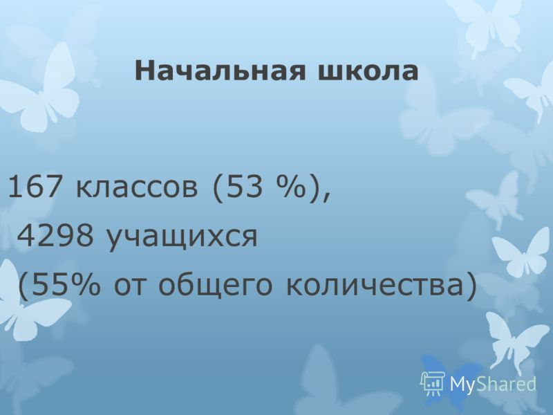 Начальная школа 167 классов (53 %), 4298 учащихся (55% от общего количества)