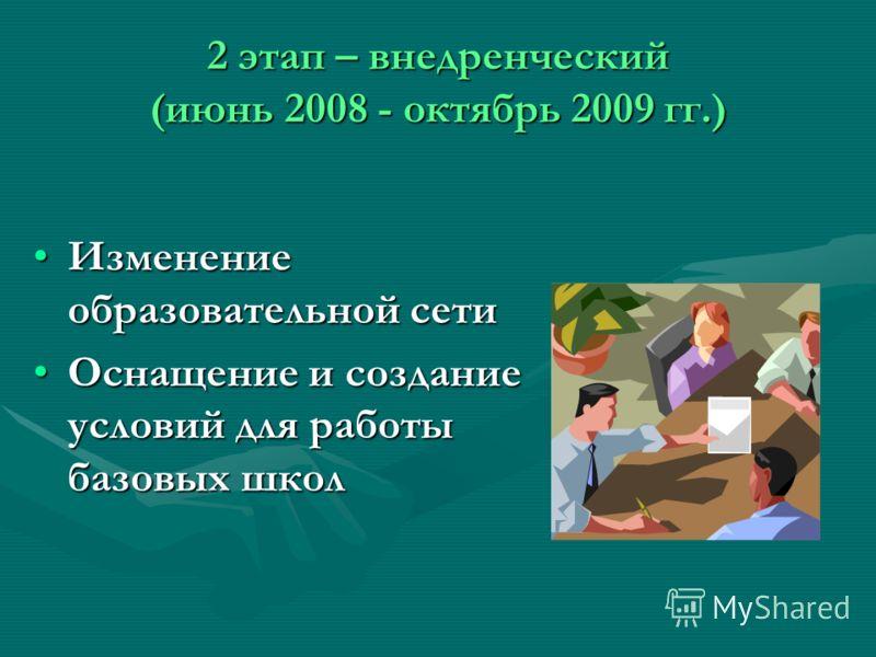 2 этап – внедренческий (июнь 2008 - октябрь 2009 гг.) Изменение образовательной сетиИзменение образовательной сети Оснащение и создание условий для работы базовых школОснащение и создание условий для работы базовых школ