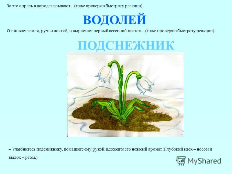 За это апрель в народе называют... (тоже проверяю быстроту реакции). ВОДОЛЕЙ Оттаивает земля, ручьи поят её, и вырастает первый весенний цветок... (тоже проверяю быстроту реакции). ПОДСНЕЖНИК – Улыбнитесь подснежнику, помашите ему рукой, вдохните его