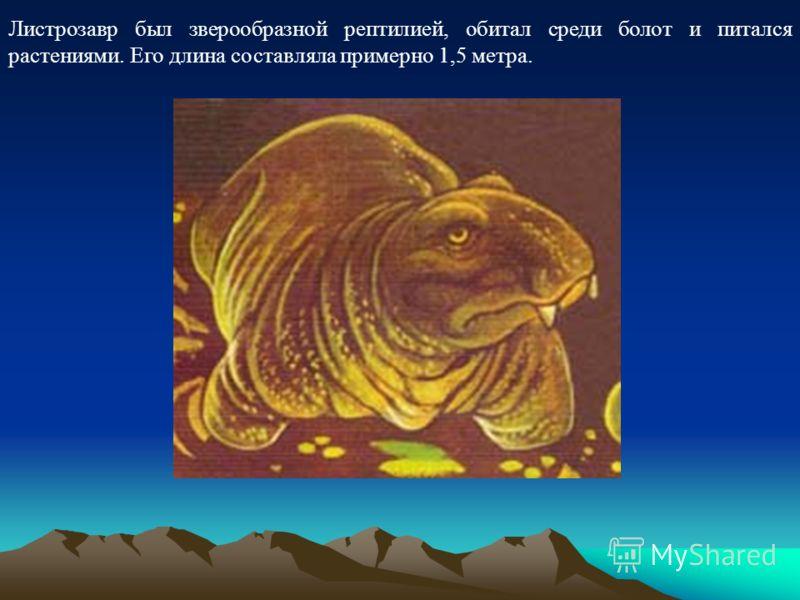 Листрозавр был зверообразной рептилией, обитал среди болот и питался растениями. Его длина составляла примерно 1,5 метра.