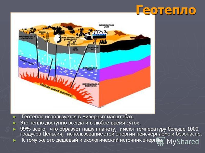 Геотепло Геотепло используется в мизерных масштабах. Геотепло используется в мизерных масштабах. Это тепло доступно всегда и в любое время суток. Это тепло доступно всегда и в любое время суток. 99% всего, что образует нашу планету, имеют температуру