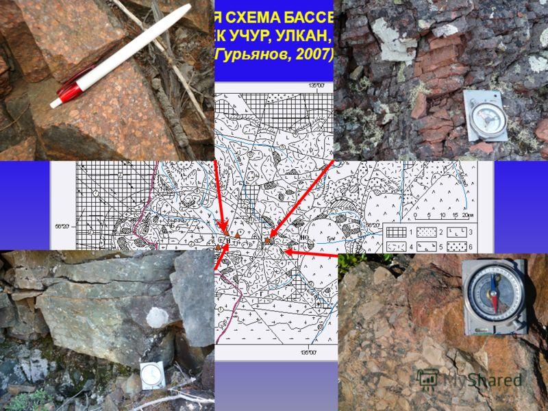 ГЕОЛОГИЧЕСКАЯ СХЕМА БАССЕЙНА ВЕРХНЕГО ТЕЧЕНИЯ РЕК УЧУР, УЛКАН, МАЙМАКАН (Гурьянов, 2007)