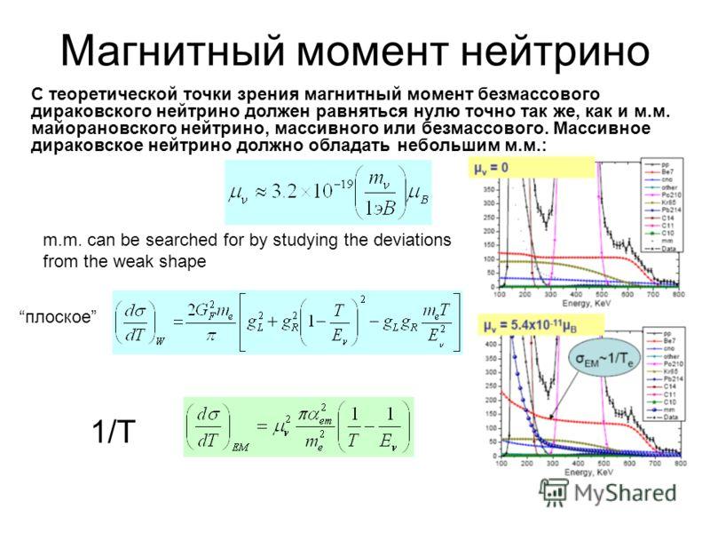 С теоретической точки зрения магнитный момент безмассового дираковского нейтрино должен равняться нулю точно так же, как и м.м. майорановского нейтрино, массивного или безмассового. Массивное дираковское нейтрино должно обладать небольшим м.м.: Магни