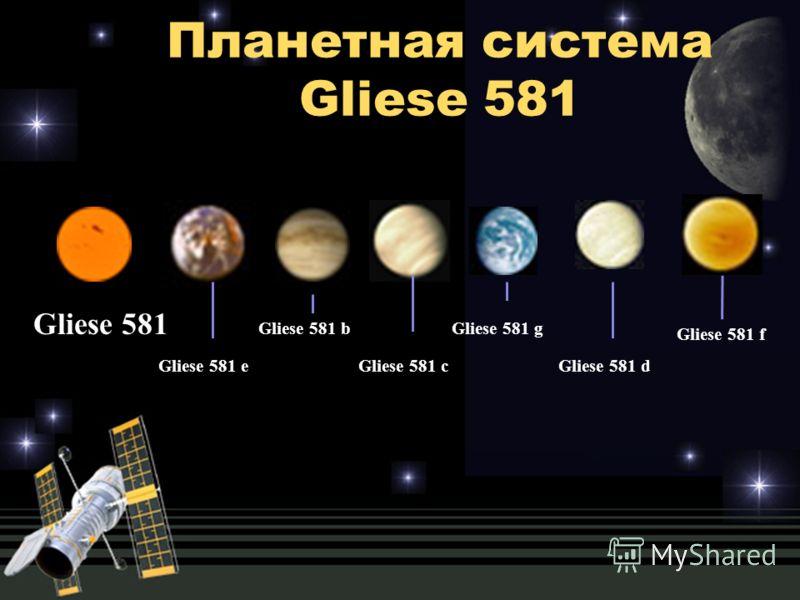 Планетная система Gliese 581 Gliese 581 Gliese 581 e Gliese 581 b Gliese 581 с Gliese 581 g Gliese 581 d Gliese 581 f