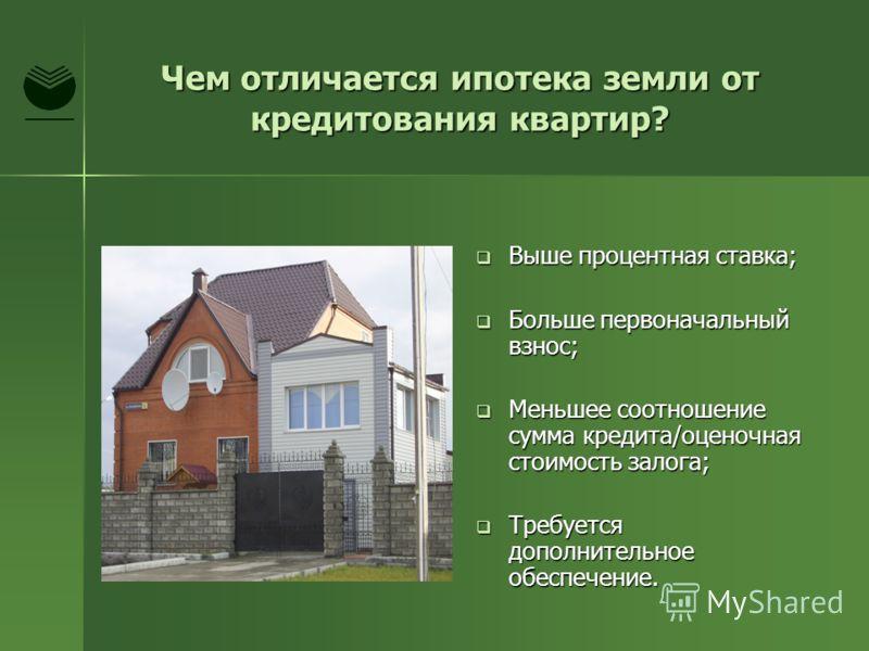 Чем отличается ипотека земли от кредитования квартир? Выше процентная ставка; Выше процентная ставка; Больше первоначальный взнос; Больше первоначальный взнос; Меньшее соотношение сумма кредита/оценочная стоимость залога; Меньшее соотношение сумма кр
