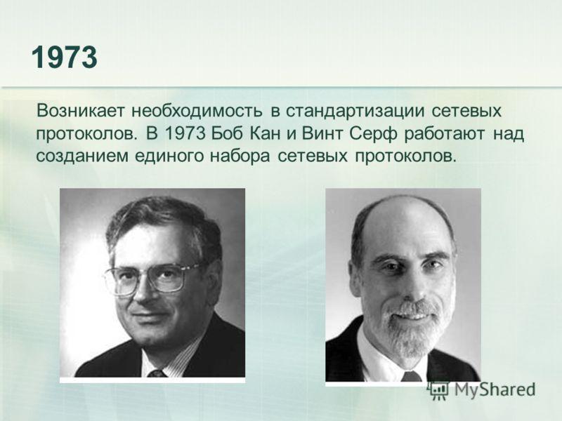 1973 Возникает необходимость в стандартизации сетевых протоколов. В 1973 Боб Кан и Винт Серф работают над созданием единого набора сетевых протоколов.