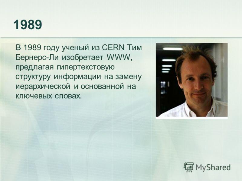 1989 В 1989 году ученый из CERN Тим Бернерс-Ли изобретает WWW, предлагая гипертекстовую структуру информации на замену иерархической и основанной на ключевых словах.