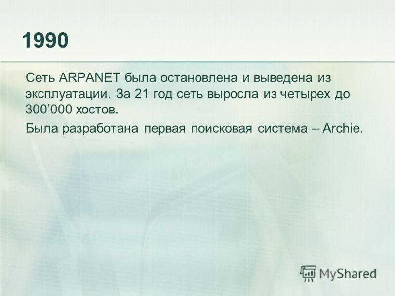 1990 Сеть ARPANET была остановлена и выведена из эксплуатации. За 21 год сеть выросла из четырех до 300000 хостов. Была разработана первая поисковая система – Archie.