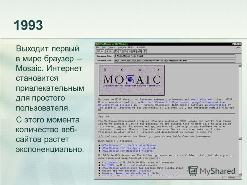 1993 Выходит первый в мире браузер – Mosaic. Интернет становится привлекательным для простого пользователя. С этого момента количество веб- сайтов растет экспоненциально.