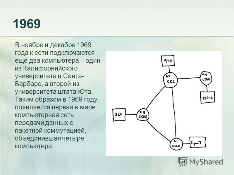 1969 В ноябре и декабре 1969 года к сети подключаются еще два компьютера – один из Калифорнийского университета в Санта- Барбаре, а второй из университета штата Юта. Таким образом в 1969 году появляется первая в мире компьютерная сеть передачи данных