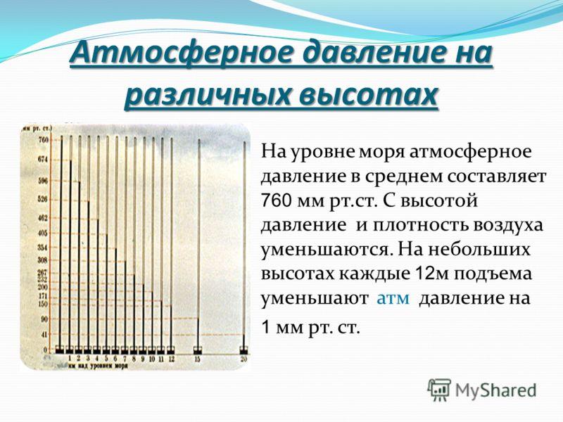 Атмосферное давление на различных высотах На уровне моря атмосферное давление в среднем составляет 760 мм рт.ст. С высотой давление и плотность воздуха уменьшаются. На небольших высотах каждые 12 м подъема уменьшают атм давление на 1 мм рт. ст.