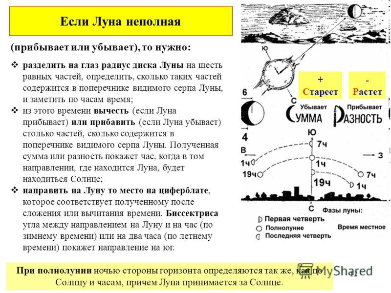 (прибывает или убывает), то нужно: При полнолунии ночью стороны горизонта определяются так же, как по Солнцу и часам, причем Луна принимается за Солнце. разделить на глаз радиус диска Луны на шесть равных частей, определить, сколько таких частей соде
