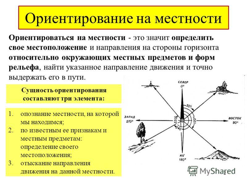 Ориентироваться на местности - это значит определить свое местоположение и направления на стороны горизонта относительно окружающих местных предметов и форм рельефа, найти указанное направление движения и точно выдержать его в пути. Сущность ориентир