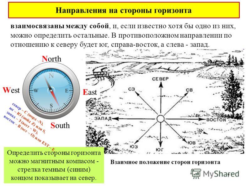 взаимосвязаны между собой, и, если известно хотя бы одно из них, можно определить остальные. В противоположном направлении по отношению к северу будет юг, справа-восток, а слева - запад. Взаимное положение сторон горизонта Определить стороны горизонт