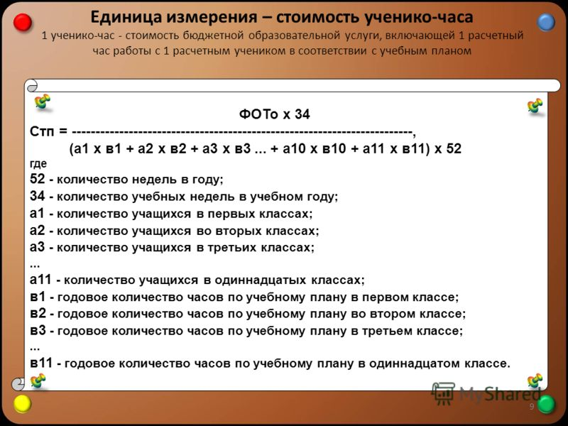 Единица измерения – стоимость ученико-часа 1 ученико-час - стоимость бюджетной образовательной услуги, включающей 1 расчетный час работы с 1 расчетным учеником в соответствии с учебным планом 9 ФОТо х 34 Стп = ----------------------------------------