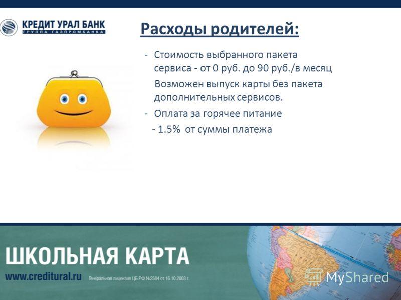 Расходы родителей: -Стоимость выбранного пакета сервиса - от 0 руб. до 90 руб./в месяц Возможен выпуск карты без пакета дополнительных сервисов. -Оплата за горячее питание - 1.5% от суммы платежа