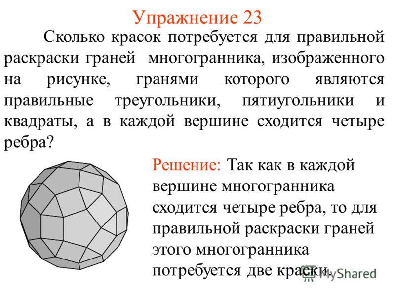 Упражнение 23 Сколько красок потребуется для правильной раскраски граней многогранника, изображенного на рисунке, гранями которого являются правильные треугольники, пятиугольники и квадраты, а в каждой вершине сходится четыре ребра? Решение: Так как