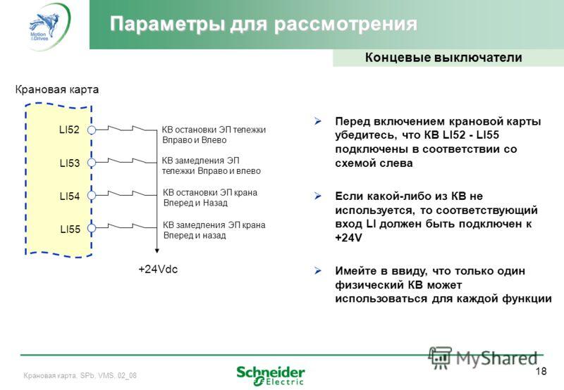 18 Крановая карта, SPb, VMS, 02_08 Параметры для рассмотрения Концевые выключатели Перед включением крановой карты убедитесь, что КВ LI52 - LI55 подключены в соответствии со схемой слева Если какой-либо из КВ не используется, то соответствующий вход