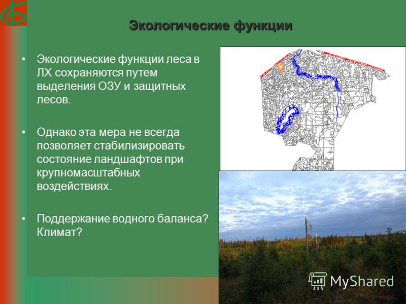 Экологические функции Экологические функции леса в ЛХ сохраняются путем выделения ОЗУ и защитных лесов. Однако эта мера не всегда позволяет стабилизировать состояние ландшафтов при крупномасштабных воздействиях. Поддержание водного баланса? Климат?