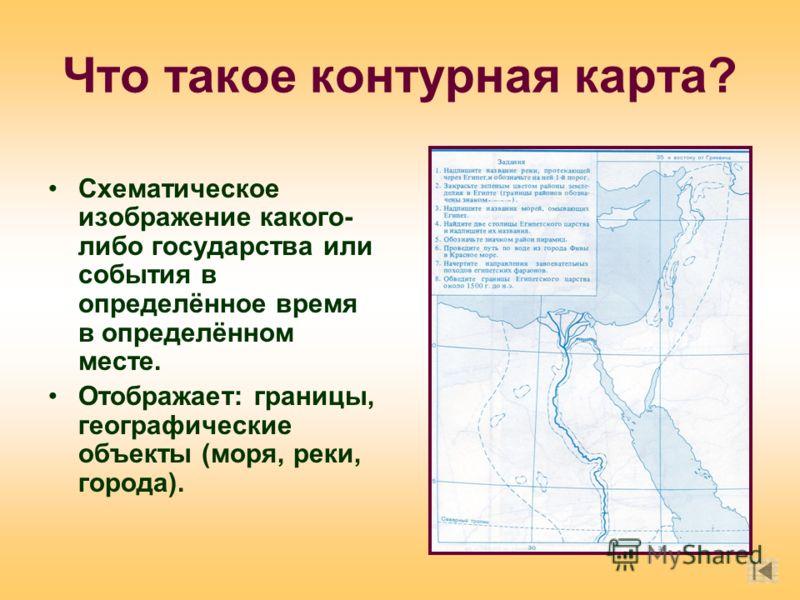 Что такое контурная карта? Схематическое изображение какого- либо государства или события в определённое время в определённом месте. Отображает: границы, географические объекты (моря, реки, города).