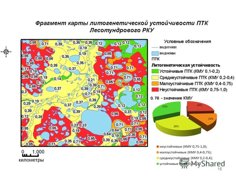 Фрагмент карты литогенетической устойчивости ПТК Лесотундрового РКУ 15