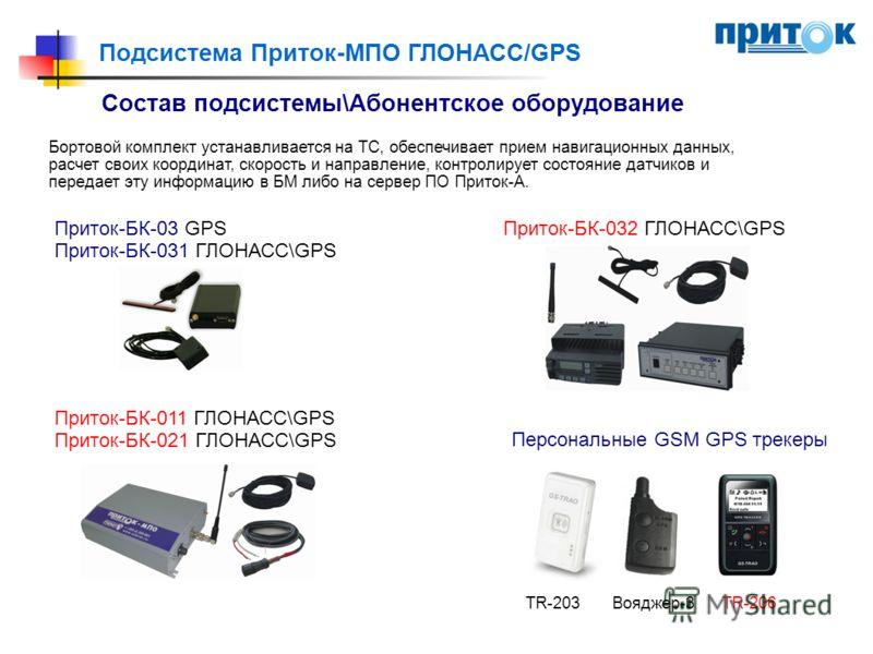 Подсистема Приток-МПО ГЛОНАСС/GPS Бортовой комплект устанавливается на ТС, обеспечивает прием навигационных данных, расчет своих координат, скорость и направление, контролирует состояние датчиков и передает эту информацию в БМ либо на сервер ПО Прито