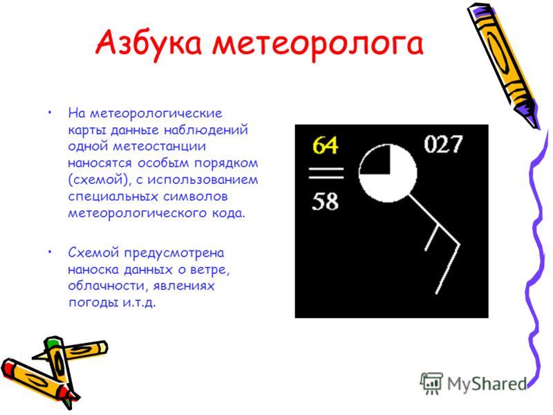 Азбука метеоролога На метеорологические карты данные наблюдений одной метеостанции наносятся особым порядком (схемой), с использованием специальных символов метеорологического кода. Схемой предусмотрена наноска данных о ветре, облачности, явлениях по
