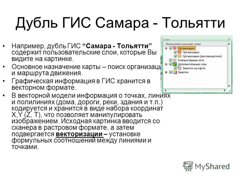 Дубль ГИС Самара - Тольятти Например, дубль ГИС Самара - Тольятти содержит пользовательские слои, которые Вы видите на картинке. Основное назначение карты – поиск организации и маршрута движения. Графическая информация в ГИС хранится в векторном форм