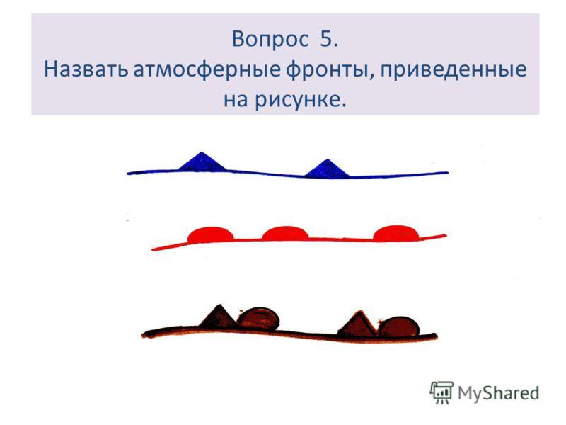 Вопрос 5. Назвать атмосферные фронты, приведенные на рисунке.