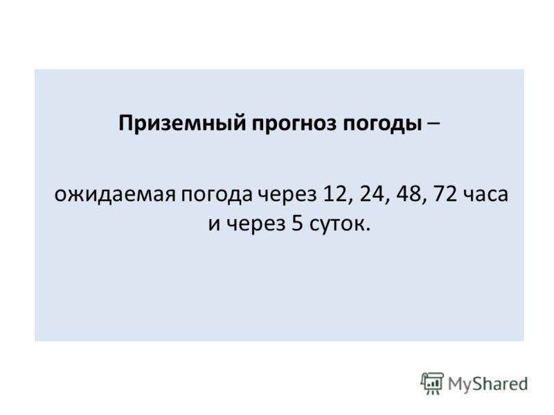 Приземный прогноз погоды – ожидаемая погода через 12, 24, 48, 72 часа и через 5 суток.